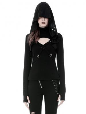 Black Gothic Punk Cross Long Sleeve Hooded T-Shirt for Women
