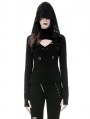 Black Gothic Punk Cross Long Sleeve Hooded T-Shirt for Women