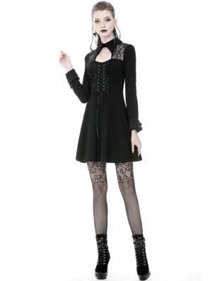 Black Gothic Long Sleeve Lace up Short Dress