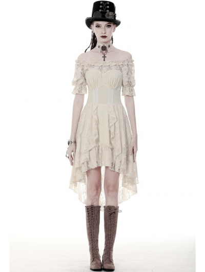 Ivory Steampunk Lace Short Sleeve High-Low Dress