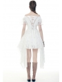 White Gothic Off-the-Shoulder Irregular Cocktail Party Dress