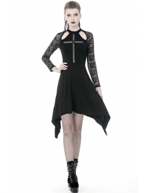 Black Gothic Cross Long Sleeve Irregular Dress