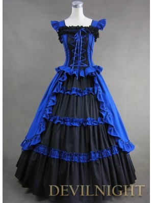 Vintage Blue and Black Multi-layered Gothic Victorian Dress