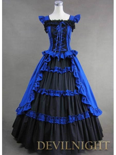 vintage blue and black multilayered gothic victorian