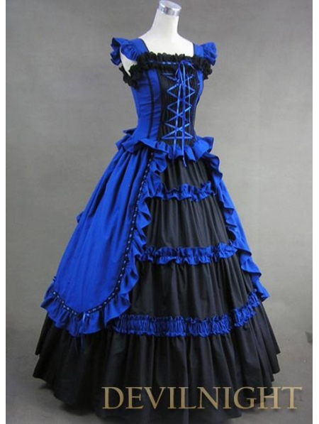 Vintage Blue and Black Multi-layered Gothic Victorian Dress ...