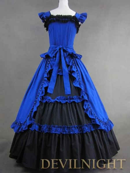 Vintage Blue And Black Multi Layered Gothic Victorian