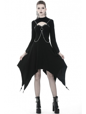 Black Gothic Punk Belt Chain Long Sleeve Irregular Dress