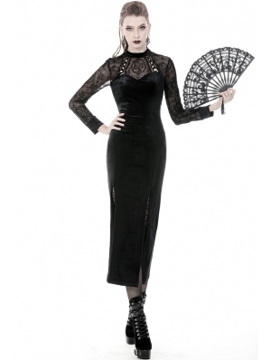 Black Vintage Gothic Velvet Sexy Slim Long Dress
