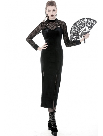 Black Vintage Gothic Velvet Sexy Slim Long Dress