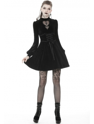 Black Gothic Sweet Velvet Heart Long Sleeve Short Dress
