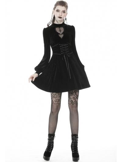 Black Gothic Sweet Velvet Heart Long Sleeve Short Dress