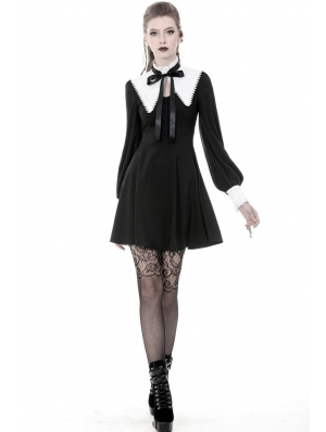 Black and White Gothic Cross Long Sleeve Short Dress