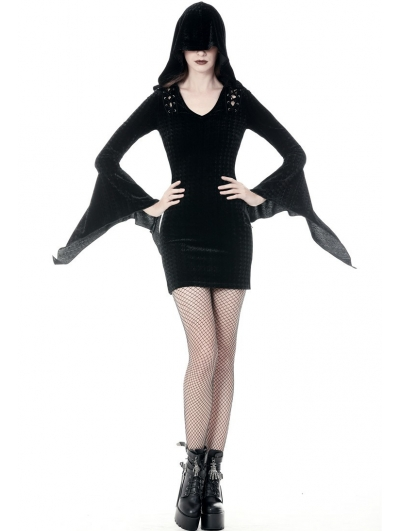 Black Gothic Hooded Holloween Witch Short Dress