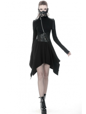 Black Gothic Punk Warrior PU Leather Asymmetrical Dress