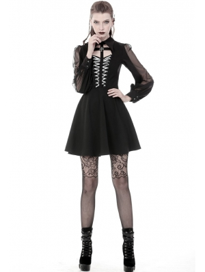 Black Gothic Chiffon Cross Long Sleeve Short Dress