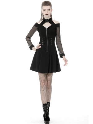 Black Gothic Punk Off-the-Shoulder Long Sleeve Short Dress