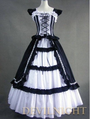 Vintage White and Black Multi-layered Gothic Victorian Dress