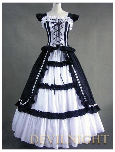 Vintage White And Black Multi Layered Gothic Victorian