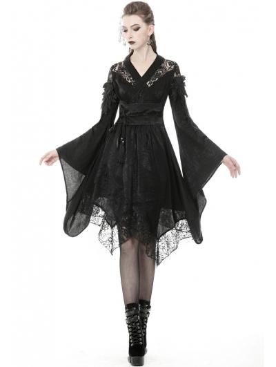 Black Gothic Lace Short Kimono Dress
