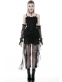 Black Gothic Elegant Lace Dress with Long Tulle Tail