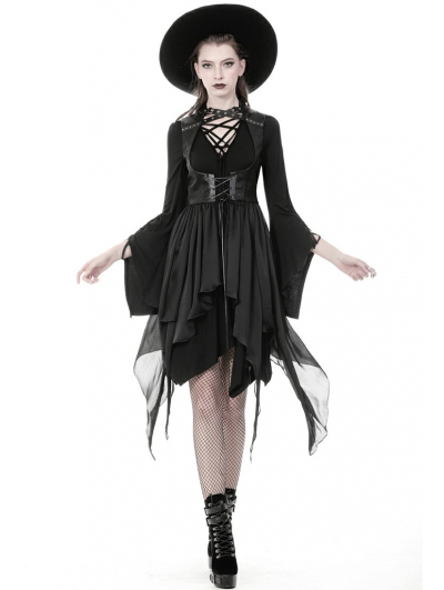 Black Gothic Punk Chiffon Irregular Long Vest for Women