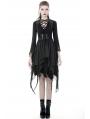 Black Gothic Punk Chiffon Irregular Long Vest for Women