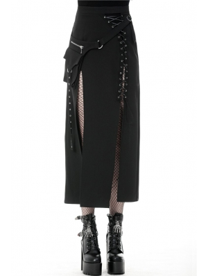 Black Gothic Punk Sexy Slit Irregular Long Skirt
