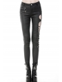 Black Gothic Punk Sexy Asymmetrical PU Leather Trousers for Women