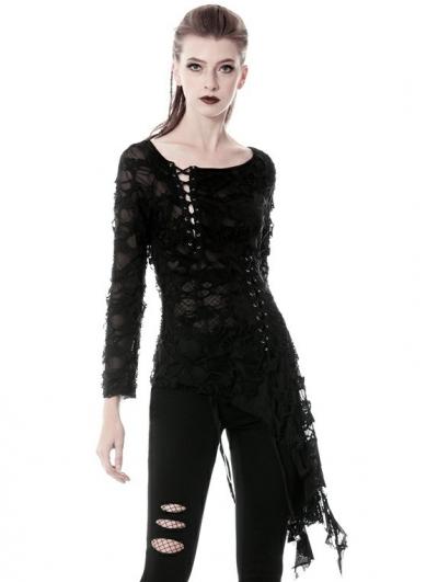 Black Gothic Punk Skull Sexy Long Sleeve Asymmetrical T-Shirt for Women