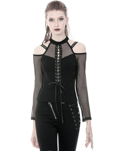 Black Gothic Punk Sexy Off-the-Shoulder Long Sleeve T-Shirt for Women