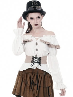 Women's White Steampunk Off-the-Shoulder Long Sleeve Shirt with Detachable Waistband