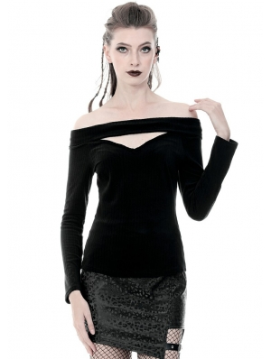 Black Gothic Punk Off-the-Shoulder Long Sleeve T-shirt for Women
