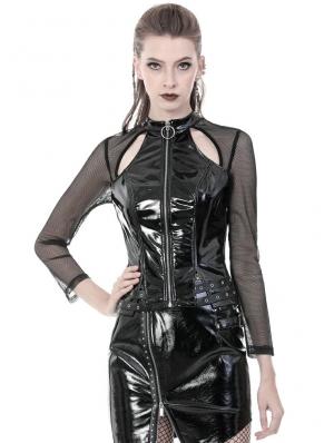 Black Gothic Punk PU Leather Long Sleeve Shirt for Women