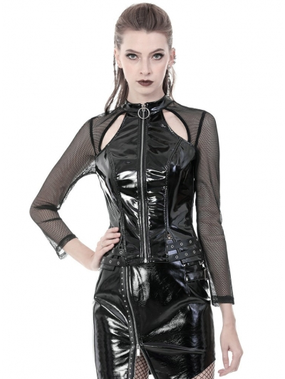 Black Gothic Punk PU Leather Long Sleeve Shirt for Women