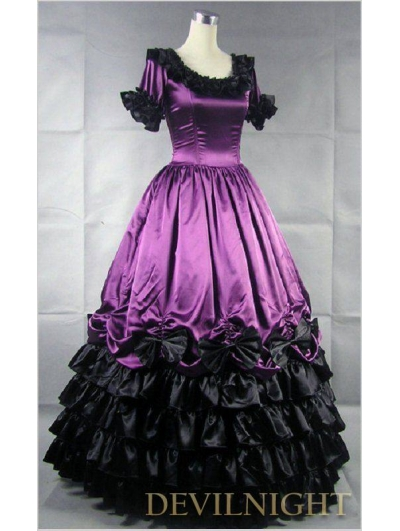 Purple and Black Short Sleeves Gothic Masquerade Ball Gowns