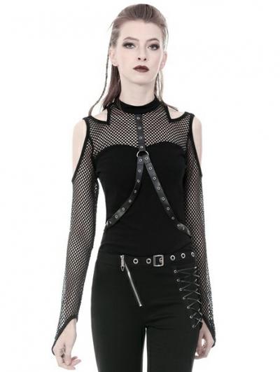 Black Gothic Punk Belt Off-the-Shoulder Long Sleeve T-Shirt for Women