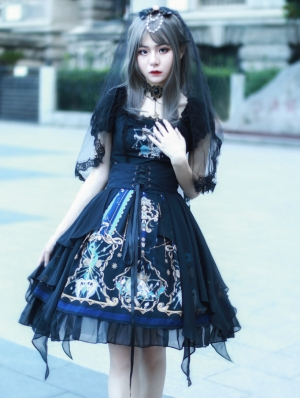 Black Dark Skull Gothic Lolita OP Dress