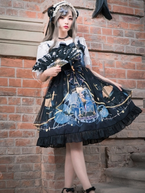Black Dark Mermaid Gothic Lolita JSK Dress