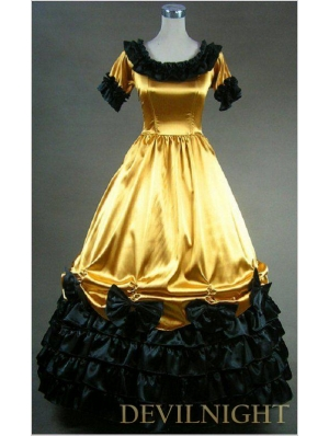 Yellow and Black Short Sleeves Gothic Masquerade Ball Gowns