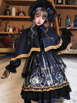 Black Dark Tea Party Gothic Lolita OP Dress with Detachable Cape