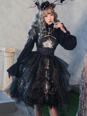 Black Dark Skull Gothic Lolita JSK Dress