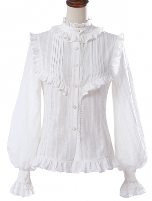 White Cotton Lantern Sleeve Classic Lolita Blouse