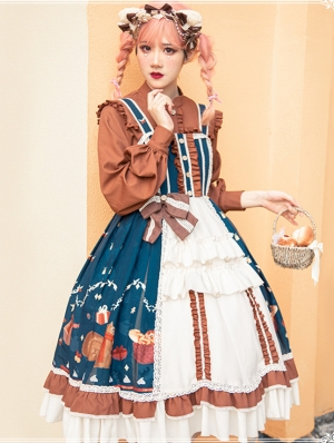 Brown and Blue Sweet Lolita JSK Two Pieces Dress