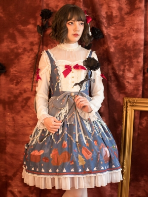 White and Blue Sweet Lolita JSK Two Pieces Dress