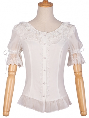 White Lace Short Sleeve Classic Lolita Blouse