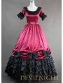 Red and Black Short Sleeves Gothic Masquerade Ball Gowns