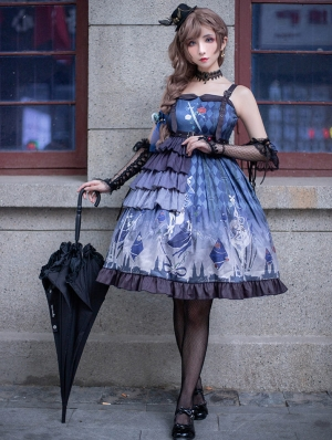 Purple Chiffon Dark Gothic Lolita JSK Dress