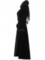 Black Queen of Hearts Gothic Velvet Long Coat for Women