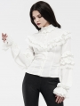 White Gothic Gorgeous Long Sleeve Lace Shirt for Women