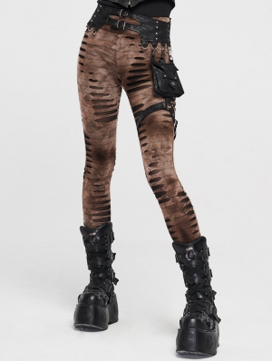 Black Brown Gothic Steampunk Leggings with Detachable Waistbag